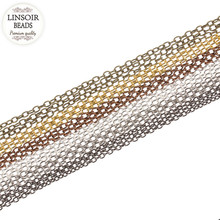 LINSOIR 10m 2*3/3*4/4*6mm Metal Iron Necklace Bulk Chains For Diy Jewelry Making Bronze/Gold/Silver Color Link Rolo Chains F711