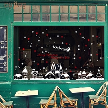 Best Selling Creative Christmas Shop Window Decoration Wall Stickers Christmas Snowflakes Town drop shipping Sep13(China)