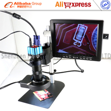 "Newest IR remote control VGA  Industry Microscope kits with C-mount Lens LED Light 8"" LCD display +stand for BGA SMT PCB repair"