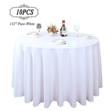 "Free Shipping 10PC/Pack 132"" White Polyester Banquet Round Table Cover for Wedding Party Restaurant Decoration Hotel Table Cloth(China)"