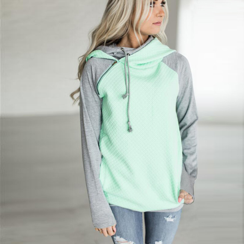 New Double Hood Sweatshirt, Women's Long Sleeve, Side Zipper Hooded Casual Pullover 8
