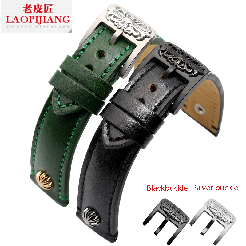 Laopijiang Durable rivets leather strap Citizen blue angel 20 21mm male leather strap<br>