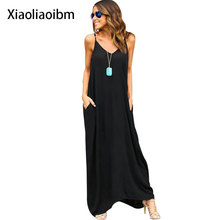 New Summer Fashion European Suit-dress Chiffon Sexy Deep V Camisole Women's Beach Five Color Five Code Beach Ground Black White(China)