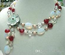 Fashion 2Rows White Pearl Moonstone Red new Shell Flower Clasp Necklace >Dongguan girl  jewerly Store  free shipping