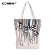 EXCELSIOR Zebra Pattern Shopper Bags Canvas Women Tote Shopping Bags Casual Handbags Reusable One Shoulder Foldable Lady Bag sac(China)
