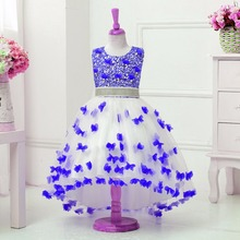 2017 New kids girl party trailing dress baby Wedding Dress Diamonds Decals children Christmas Dresses(China)