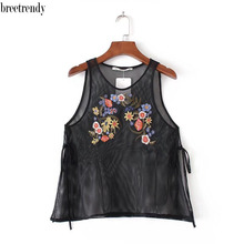 X743 Summer Fashion Ladies Sexy Black mesh Floral Embroidery Sleeveless Shirt Ladies brief Match-all shirt tank tops(China)