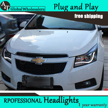 Car Styling for Chevrolet Cruze LED Headlights A8 Style Cruze DRL Lens Double Beam H7 HID Xenon bi xenon lens(China)