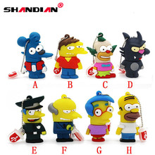 JATER Bart Simpson Mouse Wolf 1GB 2GB 4GB 8GB 32GB Memory Stick U Disk PenDrive Homer Pen Drive USB Flash Drive(China)