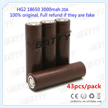 Bulk Buy! 3000mah HG2 43pcs/lot 18650 Lithium Li-ion Rechargeable Battery for LG Discharge 20A HG2 3.6V Batteries for power tool