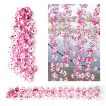 2M Pink Simulation Artificial Fake Flower Vine Plants Azalea string Garden Floral Decoration Hanging Wedding Garland Decor Y1(China)
