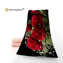 New Custom Flowers Red Rose Towel Printed Cotton Face/Bath Towels Microfiber Fabric For Kids Men Women Shower Towels A8.8