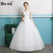 Buy Wedding Dresses 2017 Bridal Mrs Win Elegant Short Sleeve O-neck Classic Embroidery Ball Gown Princess Illusion Bridal Gown F for $52.20 in AliExpress store