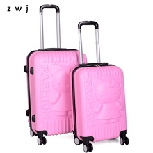 20 24 Inch Lovely Hello Kitty Girl Student Trolley Case Travel Luggage Woman Rolling Suitcase(China)