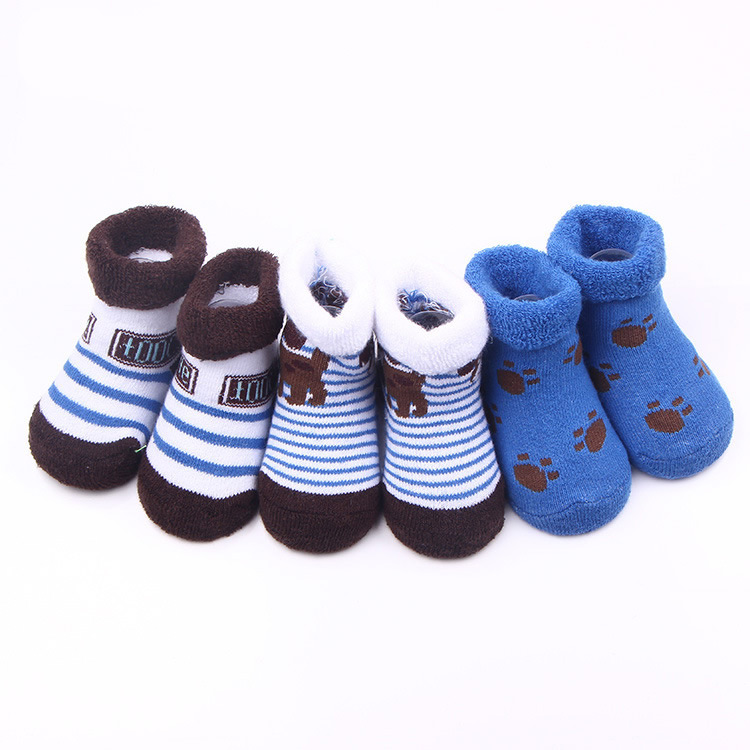 3Pairs Baby Cartoon Cotton Socks Boy Girl Winter Autumn Anti Slip Infant Socks