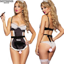 Buy new sexy lingerie hot babydoll Lace cute sexy Costume Cosplay French Maid erotic Lingerie Outfit Fancy Dress lenceria sexy 716