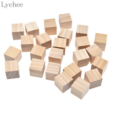 Lychee 54pcs/lot Unfinished Wooden Block Wedding Party Decoration Cube Carving Block DIY Crafts(China)