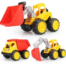 2017 new Toddler Toys Bulldozer Car Dump Truck Excavator for Children Kids Beach baby Toy Sand Tools Truck Summer Set(China)