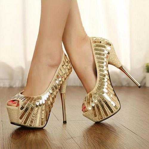 Koovan Women Pumps 2017 New Fashion Fish Head High With Golden Sequins Sexy High Heel Shoes Women Wedding Shoes Large Size 40<br>