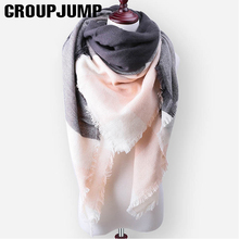 2017 Fashion Plaid Winter Scarf For Women Men Thick Triangle Scarves Female Winter Accessories Ladies Warm Scarf 140*140*210cm(China)