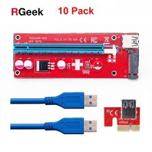 10pcs New Red VER007S PCI Express Riser Card 1x to 16x PCI-E Riser extender 60cm USB 3.0 Cable 15Pin SATA for BTC Mining rig(China)