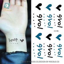 HC-196/Latest 2016 Black Body Tattoo Stickers Love Heart Tattoo Pattern Waterproof Temporary Tattoos On Wrist