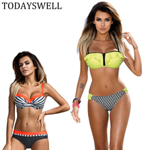 2017 Push Up Bikini Fluorescent Swimwear Women Yellow Swimsuit Bathing Suit Beach Wear Brazilian Maillot De Bain Plavky Biquini