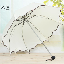 2017 Hot Summer suppliers Flouncing Folding Lotus Leaves Princess Dome Parasol Sun/Rain Umbrella #0724 C