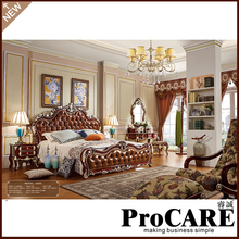 Italian French Antique Furniture Bedroom Furniture Europe Design Leather King Size Bed Villa Furniture(China)