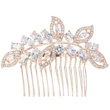 Bella Fashion Rose Gold Tone Luxury Leaf Teardrop Bridal Hair Comb Cubic Zircon Wedding Hair Piece Accessories For Party Jewelry(China)