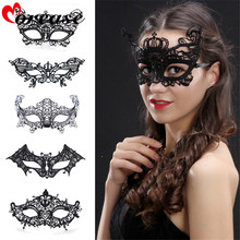 Morease Black Sexy Lady Lace Mask Cutout Eye Blinder Blindfold Erotic Fetish Bdsm Slave Restraint Adult Game Sex Toy For Women
