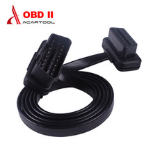Flat Thin As Noodle OBDII 16Pin car cable Male To Female Elbow Extension cable OBD2 Car Diagnostic Connector Cable free shipping(China)