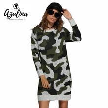 AZULINA Women Camouflage Sweater Dress Spring Winter 2017 Army Green Mini Knitted Long Sleeve Short Casual Military Soft Dreees