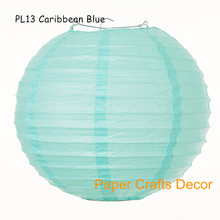 14inch=35cm 15pcs/lot Caribbean Blue Handmade Round Chinese Paper Lanterns Hanging Wedding Lampion Party Outdoor Decorations(China)