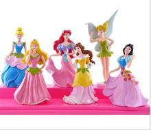 100set (6pcs/set) Princess Snow White Ariel Cinderella Tinker Bell Figure Dolls Toy For Girl(China)