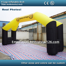 Free shipping 4 legs 8x4m inflatable arch advertising inflatable archway inflatable start  finish race arch with removable logo