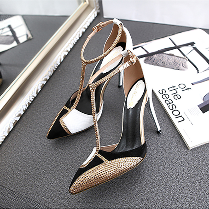 New Fashion Genuine Leather T-strap Women HIgh heels Sexy Pointed Toe Women Pumps Summer Sandals In Mixed Black White Size 35-40<br><br>Aliexpress