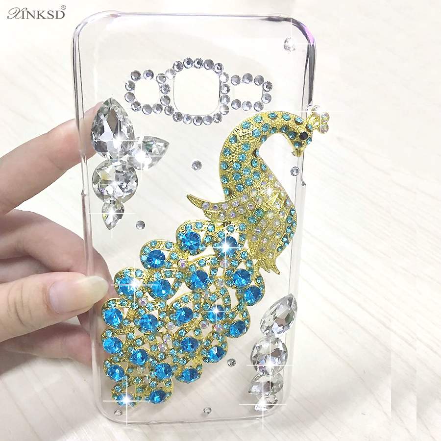 Sony Xperia XA Ultra Case Luxury Diamond Bling Peacock Clear Hard Case Back Cover Capa Xperia XA1 Ultra Phone shell O50