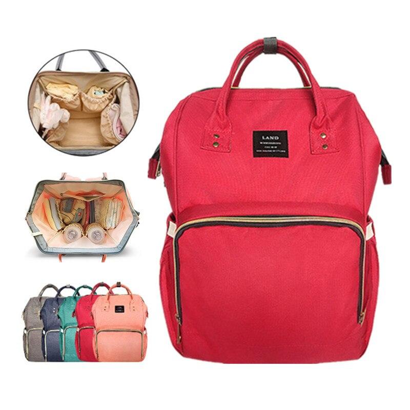 LAND Mommy Diaper Bag Large Capacity Baby Nappy Bags Desiger Nursing Bag Fashion Travel Backpack Baby Care Bebek Bag For Mom Dad<br>