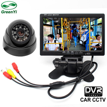 "HD 7"" TFT LCD Car Closed Circuit Television Parking Monitor With DVR Monitor SD Card + Rear View Camera + 6M 10M 15M RCA Cable"