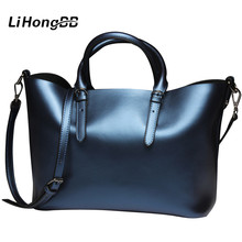 2016 New Bright Genuine Leather Women Shoulder Bag Dress Handbags Luxury High Quality Handbag Casual Hand Bag Large Bolsa Mujer