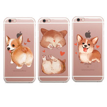Super Cute Cartoon Dog Big Ass Corgi rose Pug Thin Soft TPU Phone Case Cover For iPhone 5 5S SE 7 7 Plus 6 6S Plus 8 8Plus X(China)