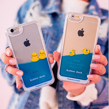 2015 Hot Yellow Rubber Duck Liquid Mobile Phone Cover Capa Para For iPhone 7 6 6 plus 5 5s yellow duck case(China)