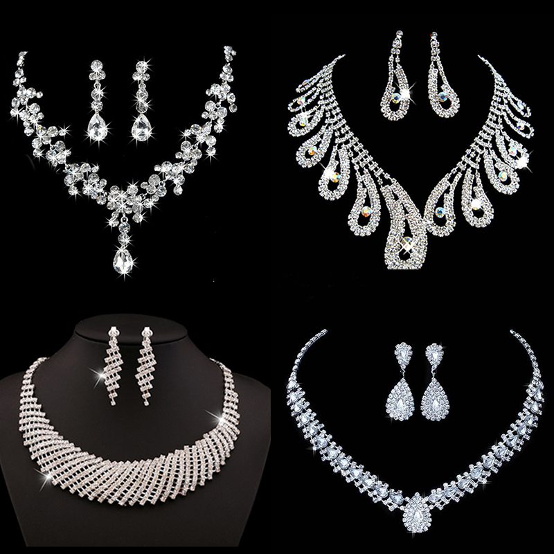 Bridal-Jewelry-Sets Necklace Earrings Acessories Stones Crystal Bridesmaid Silver-Color title=