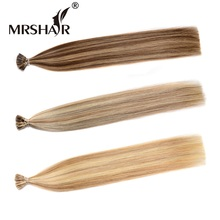"MRSHAIR Pre Bonded Human Hair Extensions 1g/pc Real Hair I Tip Extensions Non-Remy Stick I Tip Hair Piano Color 50pc 16"" 20"" 24""(China)"