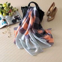 Visual Axles 2017 Women Spring Plaid Silk Scarf Luxury Brand Female High Quality Foulard Silk Tartan Wraps Shawls Scarves 180*90(China)