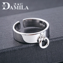 Quality Men Vintage Jewelry Real 100% 925 Sterling Silver Ring Punk Opening Design Engraved Cuff Ring for Men(China)