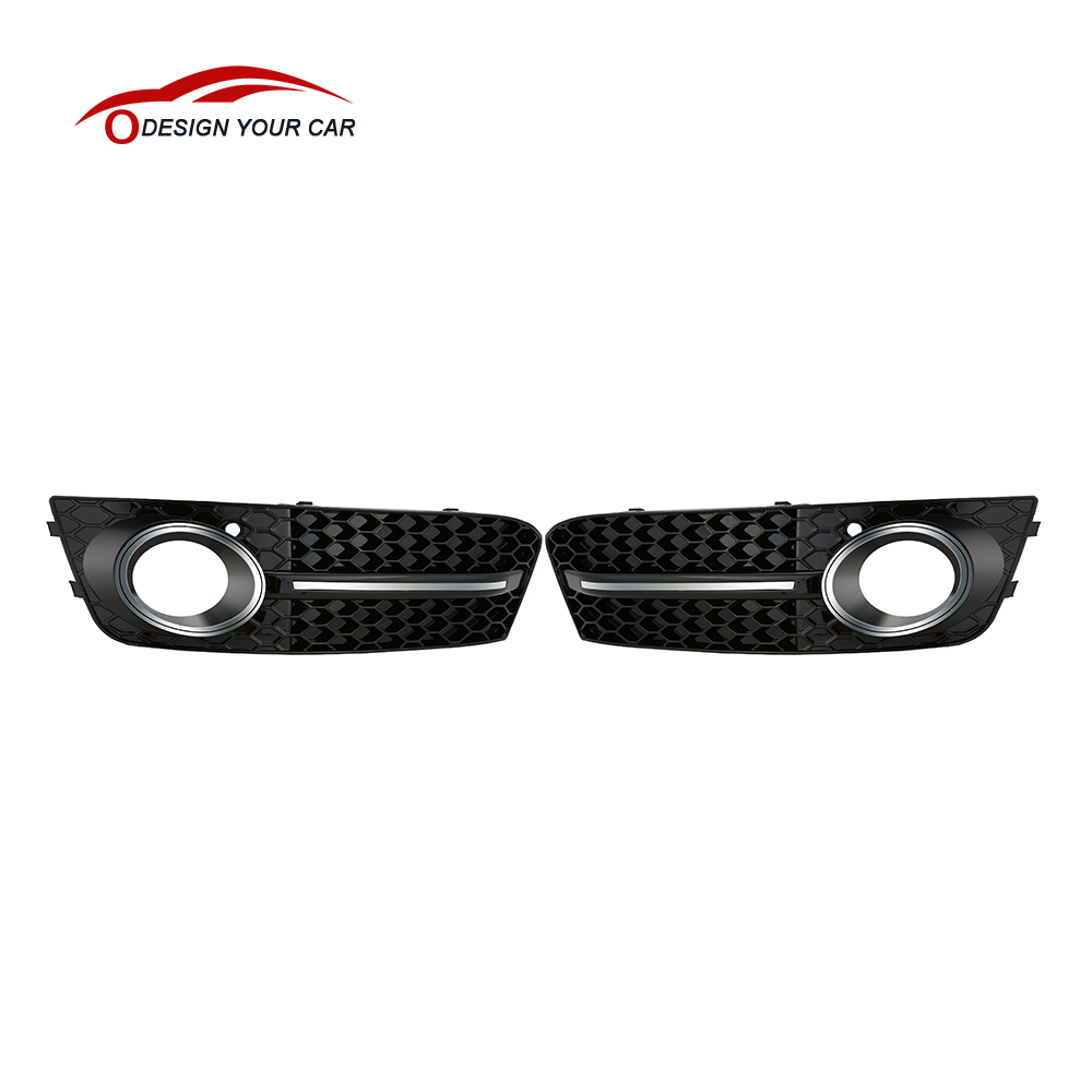 2016 One Pair Black Front Car Grilles for Audi A4/B8 2008-2011 Car Fog Light Cover Grilles Replacement for Car(China (Mainland))