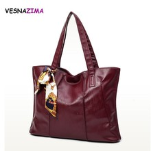 PU Leather Handbags 3 Color 2017 New Brand Women Ladies Burgundy Tote Casual Bolsos Feminina Vintage Women Shoulder Bags WM447Z(China)