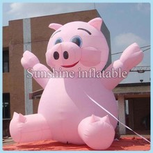 2014 hot selling lovely pink advertising giant inflatable pig